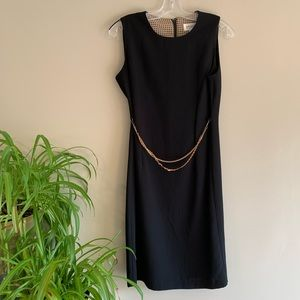 Black Pencil Dress with Removable Chain Belt